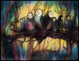 Owls Brotherhood by MademoiselleOrtie
