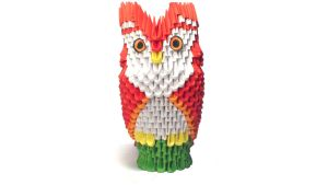 3D origami owl on a perch by Girnelis