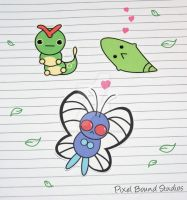 Caterpie/Metapod/Butterfree Stickers
