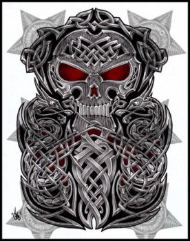Celtic Skull half sleeve by shepush