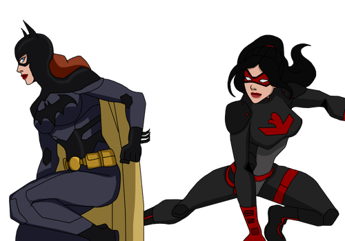 Batgirl and Red Falcon covert Requested colored by PhoenixInTheSnow
