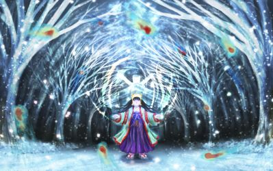 Shrine Maiden with Snow Spirits by Hyakuya