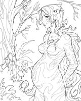 Pregnant forest girl by Cyannleola