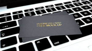 Business card free mock up PSD MacBook by dimkoops