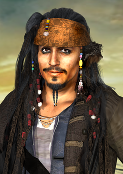 Captain Jack Portrait 3D Fanart ID by KomyFly