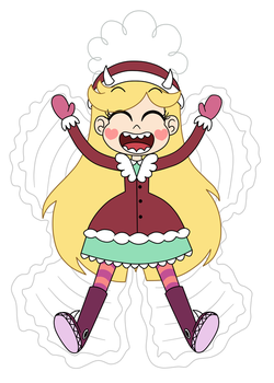 Star Butterfly is making a snow angel by Deaf-Machbot