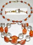 Necklace: Carnelian, glass, and crystals by LissaMonster