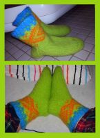 Marius - felted neon socks by KnitLizzy