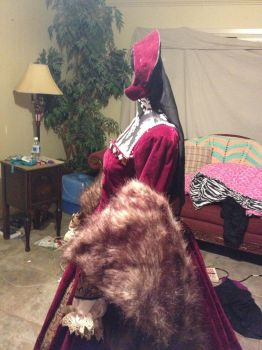 The Tudor Gourt Gown French Hood side view by TheMostHappy12