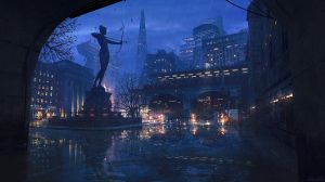 Rainy Scifi City Sketch by PhilippDobrusin