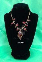 Chrystal healing : Macrame necklace with red agate by Mawee79