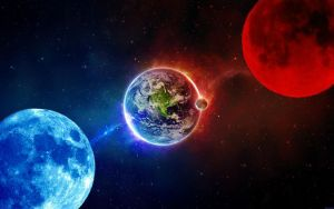 Red and Blue Moons Wallpaper by weissdrum