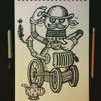 steampunk robot with a backwards hand (oops) by jinwicked