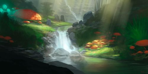 Shrooms and Waterfalls by noahbradley