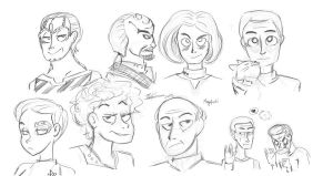 My Star Trek faves sketches by megafriki