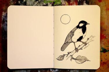 Inktober 01 - Great tit by CathM