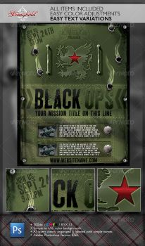 VINTAGE BLACK OPS MILITARY FLYER TEMPLATE by STRONGHOLDSTUDIOS