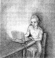 laptop and woman at night by sethness