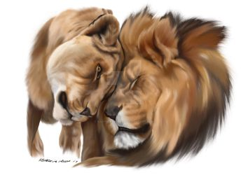 Lion and Lioness by KadyDoesTheArt