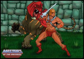 He-Man and Battle Cat by warriorCRACKER