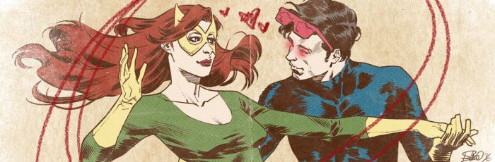 X-men romance banner for Blastoff Comics by elena-casagrande