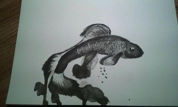 Fish Ink Painting by Lynxcall