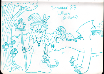 Inktober Day 23 - Witch and Friends by WendyW