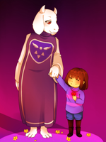 Toriel and Frisk [SPARE] by Wosda