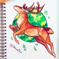Deer - angular watercolor painting by ShinePawArt