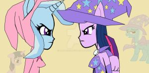 Sorceress Sparkle and Witch Lulamoon swapped bodys by alvaxerox