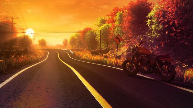 Country Road with Harley by JakeBowkett