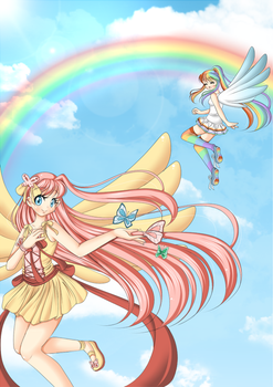 +Fluttershy and Rainbow Dash+ by Amai--Kiss