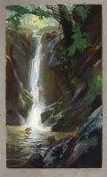 Costa Rican Waterfall by NathanFowkesArt