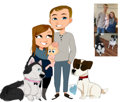 Jaymee chibi family plus dogs commission by temporaryWizard