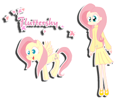Fluttershy Human and pony by PinkiePieLovely