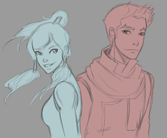 Korra and Mako by SkyDominic