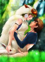 Mononoke hime by Akairookies