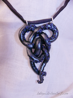 Celtic knotted tentacle - polymer clay necklace by Loliigo