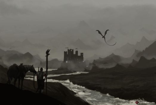 Landscape Castle Concept Art  And Dragon by VINCENTLAIK