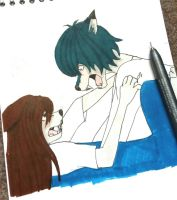 Wolf Children figth by moondaneka