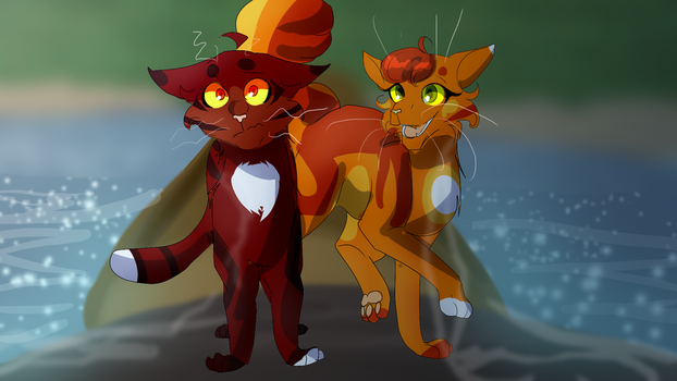 Alderpaw and Sparkpaw (Warrior Cats) by WarriorCat3042