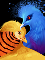 Golden Pheasant and Victorian Crowned Pigeon by Loryska