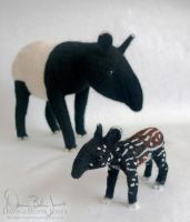 Mother and Calf Tapir by FamiliarOddlings