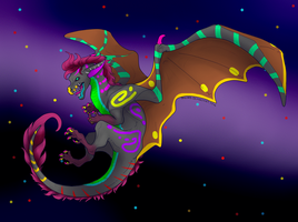 Animated Neon Dragon adopt by Darumemay