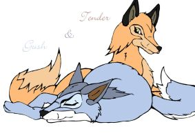 Two Foxes by InuKura