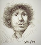 Rembrandt staring by Strooitje