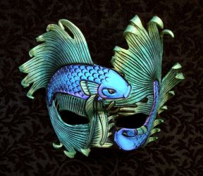 Interference Blue Green Fighting Fish Mask by merimask