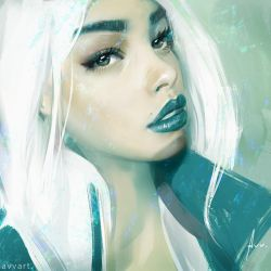white hair by avvart