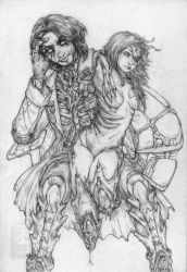 Avarice and Sarah linework by yvash