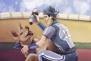 sportacus with a dog by Arkay9